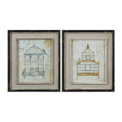 Uttermost - Bird Cages Wall Art, Set of 2 - Let these uncaged birds sing on your living room, bedroom or bathroom walls. Sold as a set, both prints feature a distressed look—giving them a vintage appeal. The linen mats are a complimentary, neutral shade of beige that allow the prints to remain the focal point.