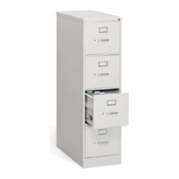 HON 314 Series 4-Drawer Vertical Filing Cabinet - Get a high degree of durability and smooth operation with this four-drawer cabinet that is part of the Hon 310 Series. Choose from two widths and three popular colors. The four drawers of this file cabinet extend easily on ball bearing suspension, feature thumb latches and label slots, and they all lock with one key turn. Order for today and boost the functionality of your office. About the HON CompanyHeadquartered in Muscatine, Iowa, the HON Company is established as a leader in the office furniture industry. The HON Company designs and manufactures products including chairs, files, panel systems, tables, and desks. With several national manufacturing facilities, the company provides products through a system of dealers and retailers throughout the United States. In an effort to think and act green, the HON Company uses less packing material, reduces their amount of fabric waste, and uses recycled wood from other furniture.