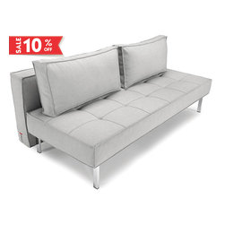 """Sly Deluxe Basic Light Grey Sofa Bed - Perfect solution for a living room with small area, the """"Innovation USA"""" Sly Deluxe Basic Light Grey Sofa Bed offers a space-saving design that is very functional with the ability of transformation into a full size bed by night."""