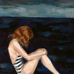 'Dark Seas' Giclée Art Print by Clare Elsaesser - Here's an example of an isolated, and definitely moodier female figure at the edge of an ocean. This is print of an painting from Clare Elsaesser, who lives and works in a Pacific hillside town in California. In addition to the dramatic sea and contemplative pose, I love the woman's pale skin, dark red hair and striped swimsuit.