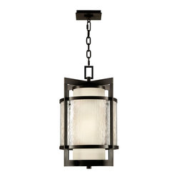 Fine Art Lamps - Fine Art Lamps 817482 Singapore Bronze Patina Outdoor Hanging Lantern - 2 Bulbs, Bulb Type: 15 Watt CFL Mini Spiral; Weight: 19lbs