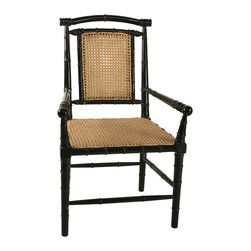 """Noir - Noir Colonial Bamboo Hand Rubbed Black Arm Chair - Featuring natural, simple and classic designs, Noir products supply a timeless complement to a variety of interiors. The Colonial Bamboo armchair enriches living rooms with warm texture throughout. A hand-rubbed black finish highlights turned detailing along the mahogony frame, while a cane back and seat deliver a traditional accent in effortless style. Finish will feature distressed characteristics. 22""""W x 22""""D x 40""""H."""