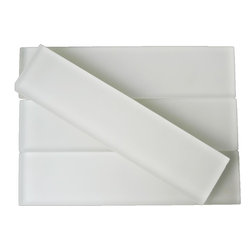 Sample-Loft Super White Frosted 2x8 Glass Tile Sample - Sample-Loft Super White Frosted 2x8 Glass Tile Sample   Samples are intended for color comparison purposes, not installation purposes.    -Glass Tiles -