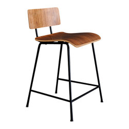 Gus Modern - School Barstool, Walnut Veneer - School Stool by Gus Modern. A modern reinterpretation of the classic elementary school chair. Features a bent-ply seat and back which are fastened to the frame with rubber gaskets, which provide durability and add a functional aesthetic. Powder coated steel frame, bent ply.