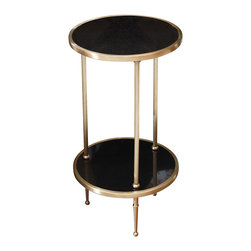Kathy Kuo Home - Trianon Hollywood Regency Brass Black Marble Side Table - Two tiers of ebony marble beckon guests to gather and stay a while, for both the fascinating company and elegant surroundings. Perfectly proportioned for more intimate spaces, this slender side table complements a chair or buffet, accents a corner or invites a private conversation. Three polished brass legs contrast with the marble for a lasting artistic impression.