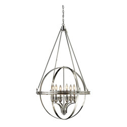Elk Lighting - Elk Lighting ELK-10193-6 Hemisphere Transitional Chandelier - This dynamic series utilizes the simple geometric shape of circles to form an architectural styled sphere. The crafted metalwork and elegant suspension rods are finished in Polished Nickel.