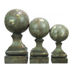 Joshua Marshal - Set/3 Sphere Pediment Finials - Set/3 Sphere Pediment Finials