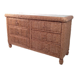 Wicker Paradise - Seagrass 6 Drawer Dresser - Miramar Collection - Our superior double dresser offers 6 spacious drawers on an easy glide roller system.  Hand woven with premium seagrass, this incomparable piece of furniture pours an exquisite aura into your room.