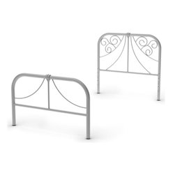 Amisco - Metal Headboard and Footboard in Textured Sil - Coquette and free-spirited. Twin size. 38.5 in. L x 78.25 in. W x 36.125 in. H (24 lbs.)little girls will love the Ballerina bed. Its elegant curves, inspired by the Victorian trend, bring fantasy to the room and match any decor. Ballerina allows kids to fly in their dreams.