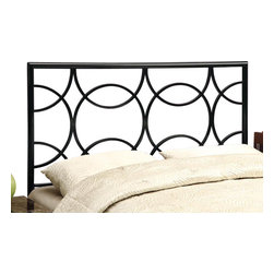 Monarch Specialties - Monarch Specialties 2613Q Queen/ Full Combo Headboard or Footboard in Black - This original headboard/Footboard will be a wonderful focal point in your contemporary bedroom. It features intertwined circles and an intricate design that creates a simple but distinctive look. Finished in black metal, this piece can accommodate a queen or full sized bed. Use as a footboard or add the extendable legs to create a headboard. This piece will no doubt help create a fresh look in any bedroom.
