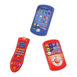 Kidz Delight Tech Set Trio - The Group Sales Tech Set Trio is the first realistic-looking pretend techy gadgets for kids. Touch the 18 different interactive icons on the smart phone to learn about the weather, get the date, trigger the alarm, check your mailbox, and more. You can also make a call by touching the call icon and hang up by touching the Hang-Up icon. Just listen as it rings, picks up the line, and even greets you. Lights flash each time you touch an icon. The MP3 player lets kids sample different types of music and work the device with simple touches of icons. A realistic remote is also included. Recommended for children ages 3 and up.About Group Sales, IncSince 1991, Group Sales, Inc has strived to become the first provider in quality toys and gifts by meeting the challenge with the finest products at competitive prices. Group Sales, Inc has diversified their portfolio of products for customers of all ages and interests by becoming the US distributor for brands such as New Bright's remote controlled line, or the arts and crafts products of NSI. Group Sales, Inc even supplies top-of-the-line products for pets from Zaidy.