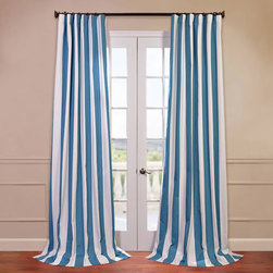 Half Price Drapes - Cabana Aqua 50 x 108-Inch Printed Curtain - - Our Printed Cotton Curtains & Drapes provide a casual feel to any window. Choose from a wide range of patterns to suit any decorative style. These drapes & curtains are tailored from the finest 100% Cotton. Great attention is given to each step of the production process. They are finished with a weighted hem and shade-enhancing lining  - Single Panel  - Weighted  - Pole Pocket  - Cleaning/Care: Dry Clean Half Price Drapes - PRTW-D32-108