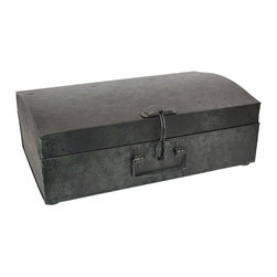 BrandWave - Metal Trunk, Large - This vintage-inspired trunk is versatile and can be used for storage or decor. Prop the lid open and show off what you have inside, or close and latch it for hidden storage.