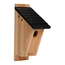 Nature's Way - Cedar Bluebird Peterson House - Peterson-style Bluebird House is made of insect and rot resistant premium cedar and stainless steel screws. This house features extra air vents, clean-out doors, elevated mesh floor, predator guard, fledgling skerfs, and a 1 3/8 x 2 = inch entry hole.