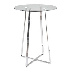 Euro Style - Euro Style Ursula Bar Table 08050A/08051G - Clear glass top and industrial strength base make Trave the first name in lasting style. The statement is crisp lines and clear strength. Sitting or standing room only!