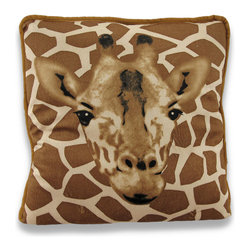 Zeckos - Brown / Tan Giraffe Print Indoor / Outdoor Throw Pillow 14 X 14 - This 14 inch square plush throw pillow is a must have for giraffe lovers. It features a brown and tan giraffe spot print, with an image of a giraffe`s face, on both front and back. It is made of 100% polyester, from the soft plush cover to the soft stuffing.