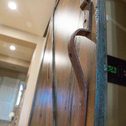 Sliding Barn Door - Tobacco Barn Brown with Ignite Finish - -Door Handle Close-up View / Door Open-