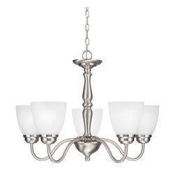 Sea Gull Lighting - Northbrook Five Light Chandelier in Brushed Nickel with Satin Etched Glass - Sea Gull Lighting 3112405-962  in Brushed Nickel
