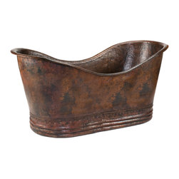 Premier Copper Products - Hammered Copper Double Slipper Bathtub - If your home is your palace, your bathroom should be your refuge. And this beautiful, copper-hammered slipper bathtub will be your go-to place. Just add bubbles and your cares of the day will slip away.