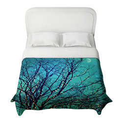 DiaNoche Designs - Duvet Cover - Magical Night - Lightweight and super soft brushed twill Duvet Cover sizes Twin, Queen, King.  Cotton Poly blend.  Ties in each corner to secure insert. Blanket insert or comforter slides comfortably into Duvet cover with zipper closure to hold blanket inside.  Blanket not Included. Dye Sublimation printing adheres the ink to the material for long life and durability. Printed top, khaki colored bottom, Machine Washable, Product may vary slightly from image.