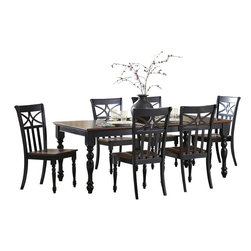 Homelegance - Homelegance Sanibel 7-Piece Dining Room Set in Black and Warm Cherry - As breezy as a day at the beach, the modern cottage styling of the Sanibel collection will meld effortlessly with your casual personal style. The versatility of the design lends to the perfect placement in your casual dining room. The collection is offered in black or white _ each featuring a warm cherry finished tabletop and chair seats.