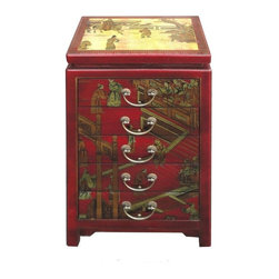 Golden Lotus - Red Chinese Leather Gold Paint Five Drawers End Table Cabinet - This is a beautiful red leather cabinet with Chinese opera gold painting.  The cabinet is hand made with compressed  wood,  wrap with artificial leather, even top, front, and sides have painting.  The inside of the cabinet has unique Chinese character.  It provides five drawers for storage and it can be used as nightstand end table.
