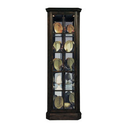 Pulaski - Pulaski Del Ray Corner Curio Cabinet Multicolor - 21470 - Shop for China from Hayneedle.com! Do more with the space you have! The rustic Pulaski Del Ray Corner Curio Cabinet is a stunning display case that utilizes your unused corner of the room to show off the things you're most passionate about. Perfect for rare books antiques fine china figurines and more this sturdy curio is an absolute must for any home or office. Built from oak hardwood solids and veneers in a dark Del Ray finish accented by panels of clear glass with a wooden grille this curio is as eye-catching as the treasures it protects. Behind its front-opening door you'll find a versatile storage area that includes a mirrored back panel for added sparkle halogen puck lights with high-low roll switch for convenient control and four glass shelves for arranging your most cherished items.About Pulaski FurnitureFounded in 1955 in Pulaski Va. and taking the name of the town as its own Pulaski Furniture was originally established as a maker of bedroom and dining room furniture. Recently celebrating its 50th anniversary Pulaski Furniture is one of the top 40 furniture importers in the United States. Now a division of Home Meridian International Pulaski Furniture Corporation continues to outperform with stylish and innovative product development designing and building a broad selection of collectors cabinets accent pieces and bedroom and dining furniture for your lifestyle needs.