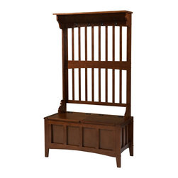 "Linon Home Decor - Linon Home Decor Benche X-U-DK-10-CLAW71048 - Keep your mud room or entryway neat and tidy with this beautiful and unique hall tree with storage bench.  Spacious seating area flips up to reveal a large storage section. The bench features a split seat, allowing the user to rest on one side of the bench, while retrieving articles from the storage compartment on the opposite side. A back panel with four hooks is perfect for hats and coats. Rich ""walnut"" finish will compliment virtually any decor.  This hall tree will provide function and style to any room."