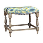 Minkah Bench - A charming accent piece. Additional seating for when guests call. A stylish resting spot for a favorite tome and a cup of tea. The Minkah Small Bench is as beautiful as it is versatile. The brushed ikat pattern catches the eye and soothes the senses with a blend of inviting island hues of indigo, aqua, and fern. The solid hardwood frame boasts a weathered driftwood finish.