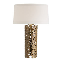 "Arteriors - Hedda Lamp - This laser cut iron sheet is finished in antique brass then hand shaped into a cylinder. The lace-like pattern has beautifully cut edges which can be placed in the front. But there is no right or wrong way, so choose the angle you prefer. Note the top edge has the same elegant detail. The low, flat, off-white drum shade is made of 100% linen with matching cotton lining and 1"" flat trim. Takes one 150 watt three-way bulb."