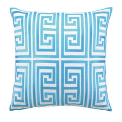 Trina Turk Greek Key Pillow 20x20 - This beautiful embroidered Greek Key Pillow adds classic geometry and cool blues to your sofa or bedscape.