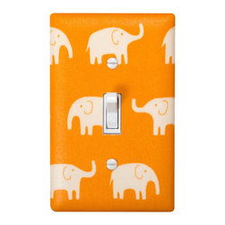 Elephant Nursery - Handmade light switch plates are a fun and creative way to add the perfect finishing touch to your child's room or baby nursery! This light switch plate features adorable white elephants on an orange background!
