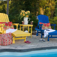Contemporary Outdoor Chaise Lounges Poly Lumber 3 Pc. Chaise Set