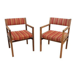Jens Risom - Pre-owned 1960s Modern Jens Risom Style Arm Chairs - A Pair - A fantastic pair of 1960's modern Jens Risom style arm chairs. These pieces are in good vintage condition with some wear due to age and use. They are in vintage original upholstery, wearing stripes of red and orange. Great as-is, or reupholster them to your liking!