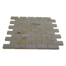 White Polished Bricks Pattern Mesh-Mounted Onyx Tiles - 1 in. x 2 in. White Mesh-Mounted Bricks Pattern Onyx Mosaic Tile is a great way to enhance your decor with a traditional aesthetic touch. This polished mosaic tile is constructed from durable, impervious onyx material, comes in a smooth, unglazed finish and is suitable for installation on floors, walls and countertops in commercial and residential spaces such as bathrooms and kitchens.