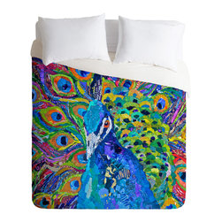 DENY Designs - Elizabeth St Hilaire Nelson Cacophony Of Color Duvet Cover - Turn your basic, boring down comforter into the super stylish focal point of your bedroom. Our Luxe Duvet is made from a heavy-weight luxurious woven polyester with a 50% cotton/50% polyester cream bottom. It also includes a hidden zipper with interior corner ties to secure your comforter. It's comfy, fade-resistant, and custom printed for each and every customer.