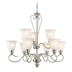 Kichler Lighting - Kichler Lighting 42907NI Tanglewood Brushed Nickel 9 Light Chandelier - Kichler Lighting 42907 Tanglewood 9 Light Chandelier