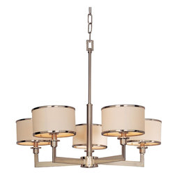 Maxim Lighting - Maxim 12055 5 Light Chandelier - Satin Nickel - A far cry from dangling crystals and gilded scrollwork, the Nexus chandelier defines contemporary lighting. Smooth tubes and broad rectangular arms form sharp right angles to uphold five individual lamps. Crisp, white fabric tautly wraps the substantial drum shades, each smartly trimmed with metal rings for a clean, tailored look.