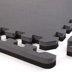 """Flooringinc - Flooringinc 1"""" MMA Foam Tiles, 10 Tile Pack, 2'x2' Tiles, Black/Grey - Our 1"""" interlocking MMA Mats are constructed with a high density EVA foam that comes in two reversible colors, allowing you to use both sides of the tile as your flooring surface. These tiles still feature the same water drop top, but are now solid color throughout. Our MMA mats are very shock absorbent and are still water resistant, mold and mildew resistant, and insulating. These properties make these tiles perfect for any basement, child's playroom, martial arts studio, MMA studio, or anywhere else a solid, shock absorbing surface is desired. Our interlocking foam tiles are also very easy to clean and feature two removable edge pieces, allowing you to easily create a solid flooring surface. So if you are looking for an easy to install, safe flooring surface that can be easily expanded upon, then our 1"""" MMA Mats are the tiles for you."""