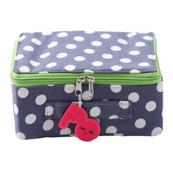 Pakhuis Oost - Dotted Fabric Suitcase - Whether she's traveling downstairs or cross-country, this small polka-dot suitcase will take her there in style. It also works as a decorative storage solution in a child's bedroom or playroom. A colorful contrast zipper and cheerful tag detail the suitcase.