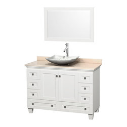 "Wyndham Collection - 48"" Acclaim White Single Vanity w/ Ivory Marble Top & White Carrera Marble Sink - Sublimely linking traditional and modern design aesthetics, and part of the exclusive Wyndham Collection Designer Series by Christopher Grubb, the Acclaim Vanity is at home in almost every bathroom decor. This solid oak vanity blends the simple lines of traditional design with modern elements like beautiful overmount sinks and brushed chrome hardware, resulting in a timeless piece of bathroom furniture. The Acclaim comes with a White Carrera or Ivory marble counter, a choice of sinks, and matching mirrors. Featuring soft close door hinges and drawer glides, you'll never hear a noisy door again! Meticulously finished with brushed chrome hardware, the attention to detail on this beautiful vanity is second to none and is sure to be envy of your friends and neighbors"