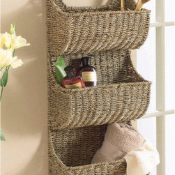 Seagrass 3 Tier Wall Basket - I absolutely love this three-tier seagrass basket! The natural tones work with all styles, and I could see it being used for magazines, linens or, as you see here, bathroom storage.