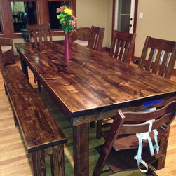 """8' Rustic Farmhouse Table - 8' x 37"""" x 30"""" Farmhouse table in (heavy) Vintage Dark Walnut stain. Jointed (smooth, not boarded) tabletop."""