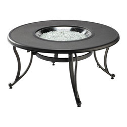 The Outdoor Greatroom - Stonefire Chat Height Gas Fire Pit Table - This classic round design looks great in any location. The Stonefire fire pit table is the same shape and size as our ever-popular black glass table but with a stone-look finish that is sure to please the eye and work with many pieces of furniture. This fire pit table comes with a center cover for the 20 inch round stainless steel Crystal Fire Burner. Light up the night and add warmth to your outdoor space. These burners are made from high quality stainless steel and include tempered, tumbled glass, an LP hose and regulator, a metal flex hose, a gas valve, and a push button sparker. With just a push of a button, a beautiful clean-burning fire appears atop a bed of highly reflective Diamond glass fire gems. All burners are shipped with orifices for LP or NG fuels and are UL approved for safety and quality. Adjust the flame height to your desired setting and enjoy the magic and ambience of a warm glowing fire.