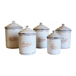 French enamelware canister - There are few minor chips here and there, all part of normal wear and simply attributes to its age, which I estimate to be 1900-1920. The insides are in particularly good condition, very clean with only minor blemishes .