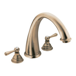 """Moen - Moen T920AZ Antique Bronze Roman Tub Trim 8""""-16"""" Two Lever Handles, ADA - Moen T920AZ is part of the Kingsley bath collection. Moen T920AZ has an Antique Bronze finish. Moen T920AZ is a roman tub trim 3-hole 8"""" - 16"""" installation. Roman Tub faucet is a deck-mount with 9"""" long and 9 15/16"""" high arc spout for conventional styling. Moen T920AZ Roman Tub Trim fits the MPact common valve system, and requires Moen's 4992 or 4993 valve. Valve sold separately. Moen T920AZ is approved by ADA. Antique Bronze is an exclusive finish from Moen and provides style and durability. Moen T920AZ metal lever handle meets all requirements ofADA ICC/ANSI A117.1 and CSA B-125, ASME A112.18.1M. Lifetime Limited Warranty and 5 Year commercial"""
