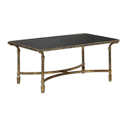 Uttermost - Matthew Williams Zion Metal Coffee Table - Artisan-forged iron with cast iron details in heavily tarnished gold leaf, inset with sleek, black tempered glass top.