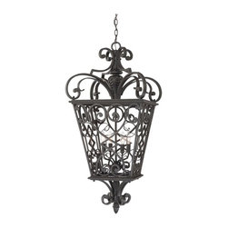 Quoizel - Quoizel Fort Quinn Outdoor Pendant - FQ1920MK01 - Shop for Pendants and Hanging Fixtures from Hayneedle.com! Rendered in cast aluminum the Quoizel Fort Quinn Outdoor Pendant echoes the iron details found in New Orleans's French Quarter. Finished in Marcado black this hanging lantern provides a warm welcome for visitors by your doorway or on a patio while adding a touch of traditional style. It comes in your choice of size to suit your needs.About Quoizel LightingLocated in Charleston South Carolina Quoizel Lighting has been designing timeless lighting fixtures and home accessories since 1930. They offer a distinctive line of over 1 000 styles including chandeliers lamps and hanging pendants. Quoizel Lighting is the perfect way to add an inviting atmosphere to any area in your home both indoors and out.