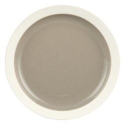 Graeden Appetizer Plate - Glossy neutrals and unglazed rims add sophisticated contrast to clean porcelain shapes for modern everyday dining. Versatile two-toned pieces are designed for layering, with plates and saucers serving as lids for food storage and microwave cooking.
