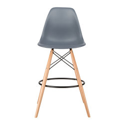 Barstool Slope Chair in Gray - Take iconic mid-century modern design to new heights. Inspired by the classic design aesthetic of our Mid-Century Slope Chair, the Barstool Slope Chair offers stylish modern seating for your counter-height needs. The chair features a smooth polypropylene seat and natural wood dowel legs. We see this chair fitting in at the kitchen island, providing a comfortable seat for late night stacks or kitchen chatter. Available in a variety of vibrant colors, the chair will spruce up your d̩cor without overpowering the room.